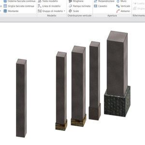 pilastri generabili dalla famiglia pilastro con zoccolo creata